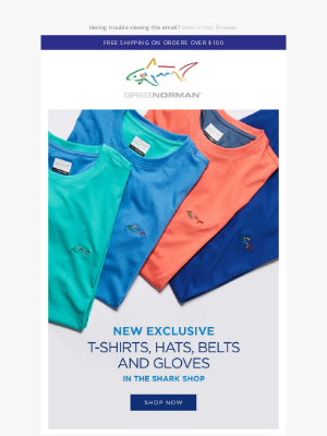 Greg Norman Collection - Shark t-shirts, hats, gloves and belts
