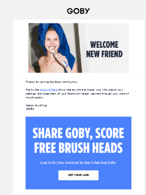 Referral program example included in a welcome email