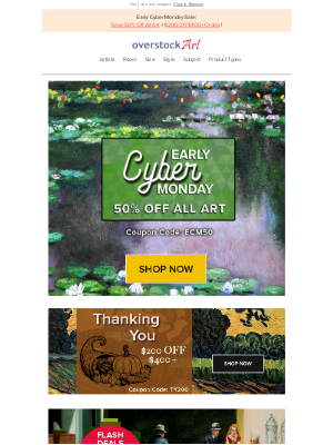 overstockArt - It's Happening! Early Cyber Monday Sale: Claim This Coupon!