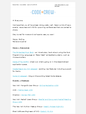 Code Crew - Code Crew Newsletter 4/29