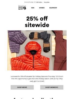 Mountain Hardwear - Last week: 25% off sitewide. 📣