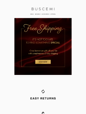 BUSCEMI - Last Call: Free 2-Day Shipping