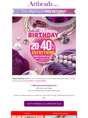 Artbeads - Happy Birthday to Us! Let's Celebrate with 20-40% Off Everything
