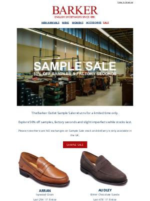 Barker Shoes (UK) - Barker Outlet Sample Sale Returns | 50% Off Samples & Factory Seconds While Stocks Last | New Styles Added