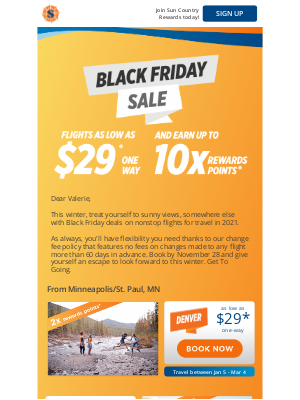 Sun Country Airlines - Black Friday deals as low as $29* one-way, plus up to 10x the points on travel in 2021!
