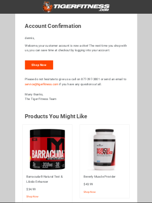 Tiger Fitness - Customer account confirmation