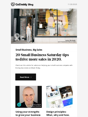 GoDaddy - 20 Small Business Saturday tips to boost Black Friday Sales.