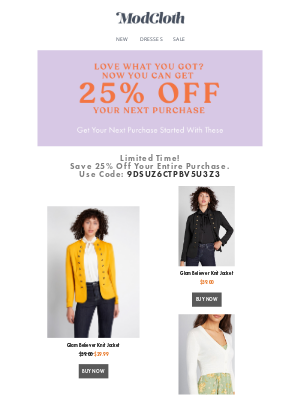 ModCloth - 25% off for your Next Purchase!