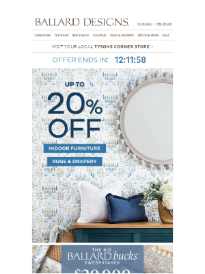 Ballard Designs - ENDS TONIGHT: Up to 20% Off Indoor Furniture, Rugs, and Drapery