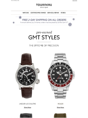 Tourneau - Exquisite GMT Styles From Pre-Owned Rolex, Panerai, Breitling, & More