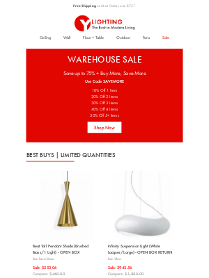 YLiving - Warehouse Sale: Up to 75% in Savings, Limited Quantities.