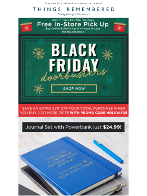 Things Remembered - Doorbusters: 25% Off Pens + $24.99 Journal & Charger Set