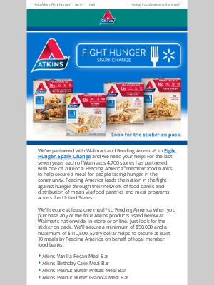 Atkins - Fight Hunger. Spark Change!
