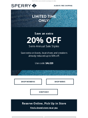 Sperry - 48 Hours Left! Extra 20% Off Semi-Annual Sale Styles