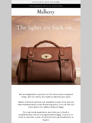 Mulberry (UK) - Our UK stores are now open!