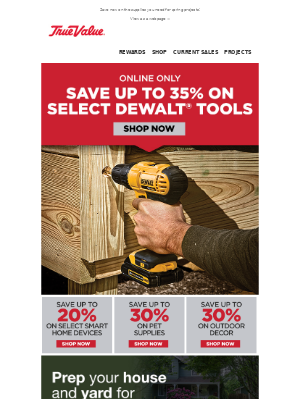 True Value - Save up to 35% on DeWALT® and MORE!