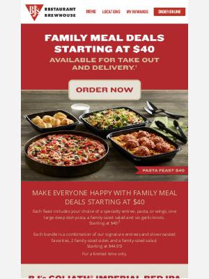 BJs Restaurants - Family Meal Deals Starting at $40