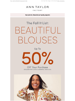 Ann Taylor - Start At The Top: Up To 50% Off Beautiful Blouses