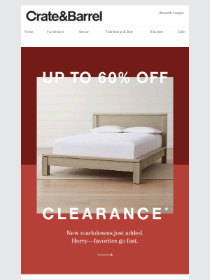 Crate and Barrel - We're thankful for up to 60% off clearance.