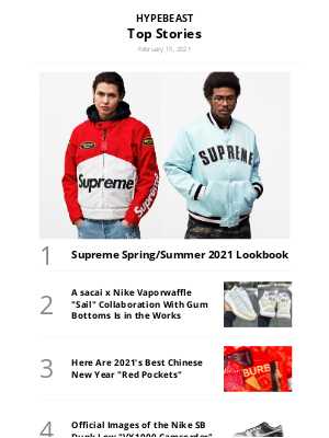 HYPEBEAST - Your Weekly Round-Up:  Supreme Spring/Summer 2021 Lookbook and More