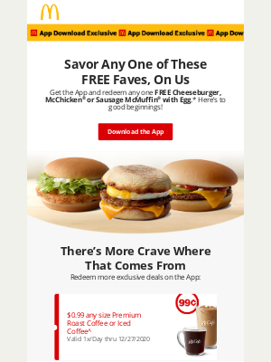 McDonald's - Download the App for a FREE Cheeseburger, McChicken® or Sausage McMuffin® with Egg