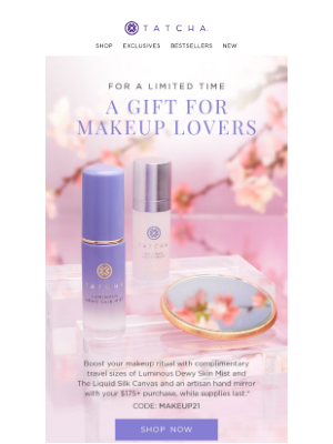 Tatcha - Enjoy 3 gifts to boost your makeup routine 💄