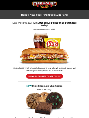 Firehouse Subs - Welcome the New Year with 2021 bonus points at Firehouse Subs🎉