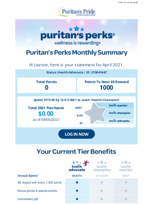 Puritan's Pride - Your Puritan's Perks Monthly Statement is here