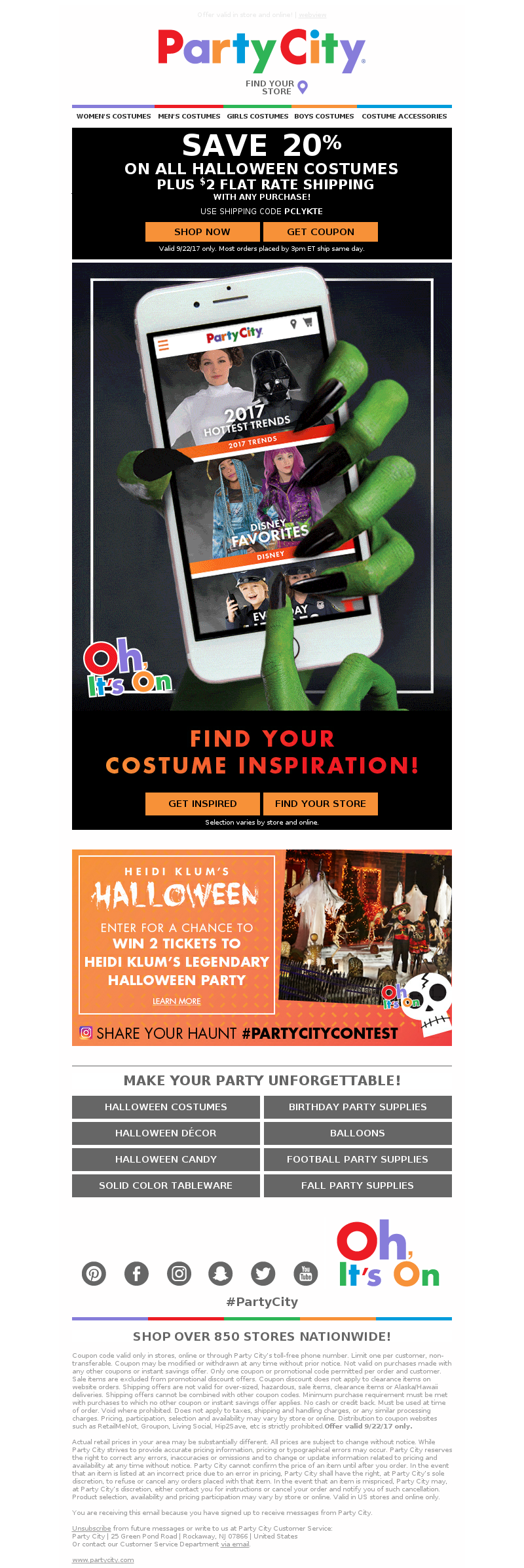 Halloween email design by Party City