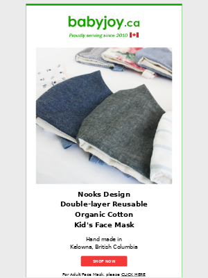 New Arrivals: Made in Canada Organic Cotton Face Mask, Wee Gallery Organic Blanket, & More.