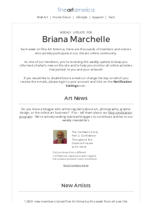 Fine Art America - Fine Art America - Weekly Update for Briana Marchelle