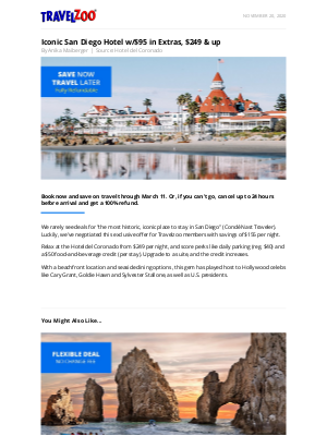 Travelzoo - Iconic San Diego Hotel w/$95 in Extras, $249 & up