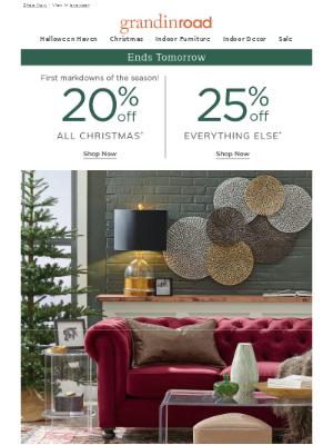 🎄 20% Off Christmas today–25% Off the rest | 2X rewards, too