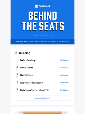 SeatGeek - Behind the Seats, Vol. 26