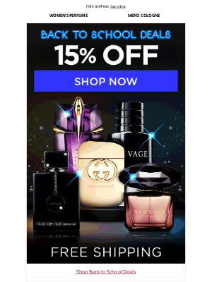 FragranceX - Back to School Deals 15% Off Free Shipping