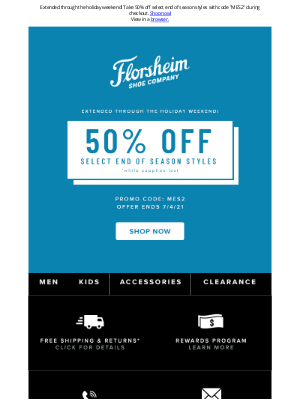 Florsheim Shoes - Extended through the 4th of July! Don't miss out