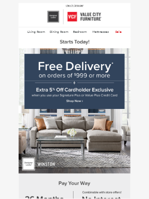 Value City Furniture - Woohoo! 🎉 FREE delivery starts now!
