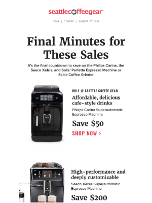Seattle Coffee Gear - Last few minutes to save big! 🕐
