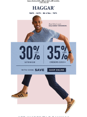 Haggar Clothing Co. - Act Now! Pants From $19.97 + Extra Savings w/Code: SAVE