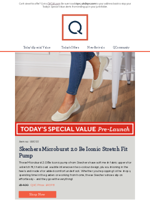 QVC (UK) - See Today's Special Value Pre-Launch: Skechers Microburst 2.0 Be Iconic Stretch Fit Pump