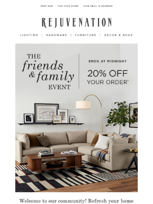 Pottery Barn - Ends tonight: 20% off your order during our Friends & Family Event