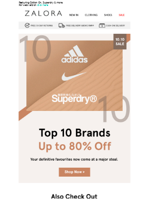 Up to 80% Off Your Favourite Brands!