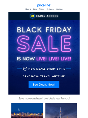 Priceline - You're first! VIP Early Access to Black Friday is NOW LIVE