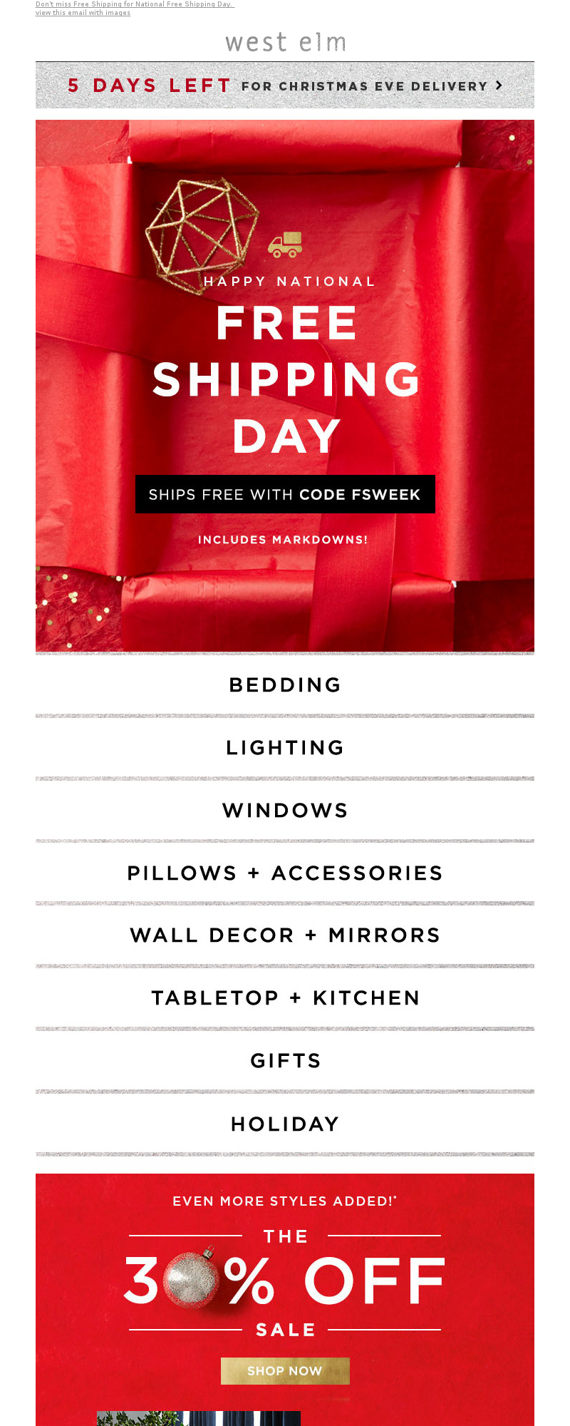 West Elm - 🔴 Official alert: It's National Free Shipping Day! (Yes, it's a thing)