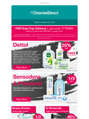 Chemist Direct (UK) - Free next day delivery plus up to 50% off!