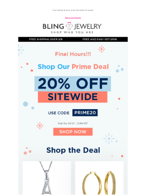 Bling Jewelry - Final Hours! Shop Prime Deal! Get 20% off SITEWIDE!