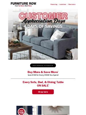 Furniture Row - Don't miss Customer Appreciation Days