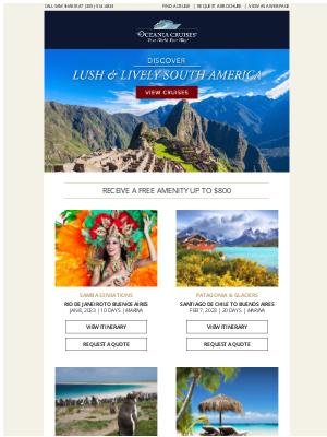 Oceania Cruises - South America's Best: Machu Picchu, Patagonia, the Falkland Islands & Beyond