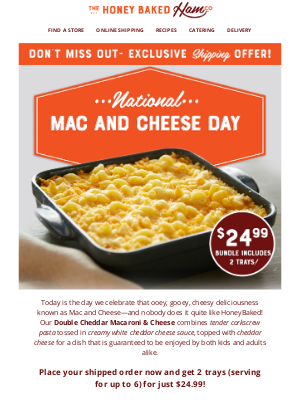 HoneyBaked Ham Online - 🧀National Mac & Cheese Day is here--Let's Celebrate!