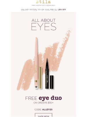 Stila Cosmetics - Free Eye Duo when you spend $50! Offer valid today only!